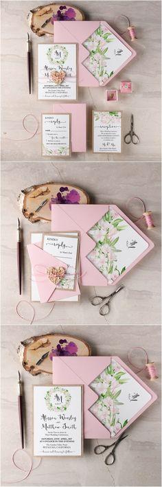 rustic wianek pink botanical spring summer wedding invitations