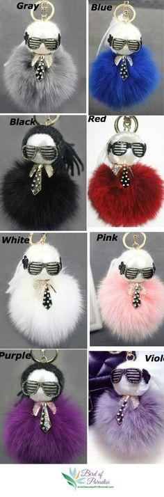 Keyring  fur pompom, keychain Karl , chain and ring carabiner keychain, charm fur  ,keyring bag ,gift ideas birthday , Karl Lagerfeld