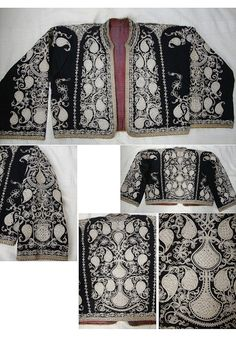 Traditional embroidered women's 'cepken' (long-sleeved vest) from the Havran district (East of Edremit, in the Balıkesir province).  Early 20th century.  Design: 'armutlu' (= with pear-motif).  (Source: Tekin Uludoğan, Balıkesir).(Pharyah)