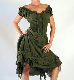 - FRILL BOTTOM - Zootzu Pirate Renaissance Costume Peasant Gypsy Dress Green #zootzu #Dress