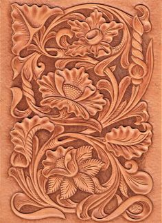 Free Pattern for Northwest Style Leather Carving – Elktracks Studio Leather Book Covers, Leather Books, Leather Tooling Patterns, Leather Pattern, Leather Carving, Pattern Design, Free Pattern, Flower Patterns, Craft Patterns