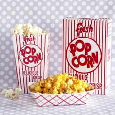 popcorn bags. for a movie night party or a sports themed party.