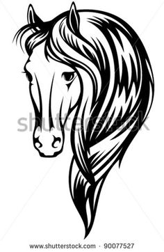 ... horse vector illustration - black and white head and long mane outline Tall Pumpkin Outline Clip Art