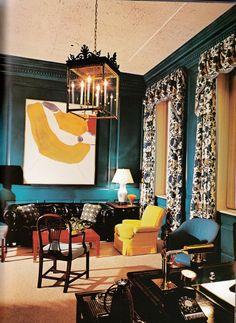 Albert Hadley Albert Hadley, Interior Inspiration, Design Inspiration, Room Inspiration, Design Ideas, Teal Walls, Turquoise Walls, Chula, Blue Rooms