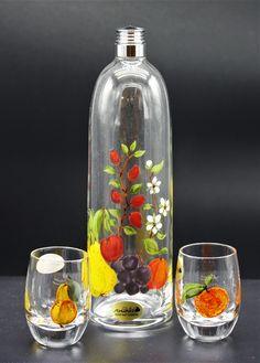 "Schnapsset handgemalt, 3 teilig ""Obst"" Glass Vase, Home Decor, Flower Of Life, Stained Glass, Carafe, Decoration Home, Room Decor, Home Interior Design, Home Decoration"