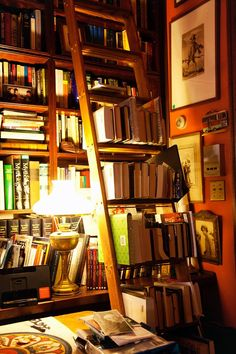 books overflowing onto the shelf ladder in the harlem home of albert maysles (filmmaker) and gillian walker (therapist)