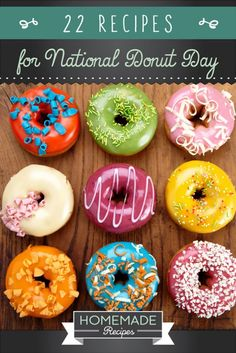 22 Homemade Donut Recipes for National Donut Day by Homemade Recipes at http://homemaderecipes.com/holiday-event/22-homemade-donut-recipes-for-national-donut-day/