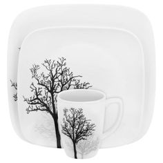 #Corelle Square™ Timber Shadows 16-Pc Dinnerware Set - The delicate silhouettes of leafless branches reach skyward in this elegantly modern pattern. Simple, yet graceful, this pattern evokes the feeling of walking through a park in early spring.// shop now at corelle.com