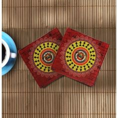 Warli Dance Glass Coasters from MYNA U.S.A. for $11.99