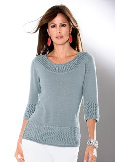 A stylish jumper with an artistic ajour pattern along the cuffs. In a carefully tailored knitted style and shimmering yarn with three-quarter length sleeves. 66 cm ins) (Size Sweater Knitting Patterns, Knitting Designs, Baby Knitting, Woolen Tops, Sweater Design, Knit Fashion, Knit Crochet, Sweaters For Women, Clothes