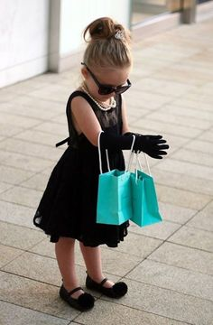 Mini Audrey Hepburn looking fabulous in her Tiny Fabulous Boutique dress