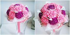bukiet z kwiatów z krepiny różowo fioletowy więcej na kwiatyupominki.net