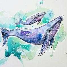 643 отметок «Нравится», 17 комментариев — Joanne Baker (@milky_tattoodles) в Instagram: «Humpback whales for Isabelle  #uktta #ukbta #thebesttattooartists #illustration…»