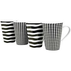 @Overstock - Add fun and whimsy to your table with a set of 13-ounce mugs  Konitz casual dinnerware is sold as a set of four (4) mugs  Earthenware mug set features black and white colors with assorted Escapda designs  http://www.overstock.com/Home-Garden/Konitz-Escapda-Black-White-Assorted-13-oz-Mugs-Set-of-4/4427606/product.html?CID=214117 $29.05