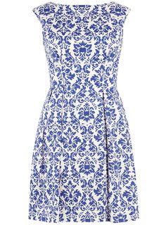 Blue flock print V back dress - View All - Dresses - Dorothy Perkins United States