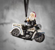 Jolly Biker Santa swaps his fur coat and sleigh for a leather jacket and Trike. | Harley-Davidson Biker Santa Resin Ornament