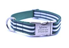 Cabana Stripe Dog Collar with Laser Engraved Personalized Buckle - HUN – Bark Label