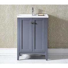 Vinnova Asti 24-inch Grey Single Vanity with White Drop-in Porcelain Vessel