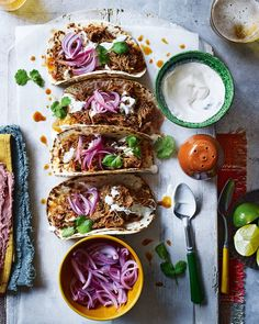 If you love spice then you simply have to try our slow-cooked chicken tinga tacos, loaded with homemade pickled onions and soured cream. Onion Recipes, Crab Recipes, Lentil Recipes, Mexican Food Recipes, Cabbage Recipes, Gourmet Recipes, Dinner Recipes, Cooking Recipes, Slow Cooked Chicken