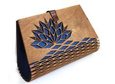Wooden clutch Silk clutch Evening clutch Spring / Summer trend bag wooden bag modern clutch great gift idea Wood handbag Modern
