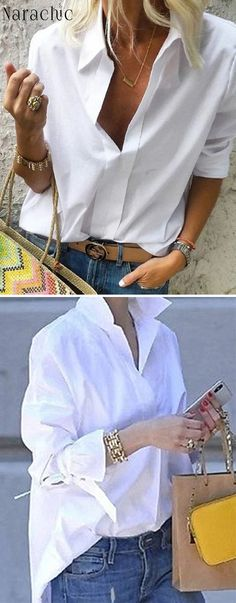 Long Sleeves Shirt Collar Solid Casual Shirts Informations About Hot Sale! Casual Chic Outfits, Classic Outfits, Trendy Outfits, Look Fashion, Daily Fashion, Outfits Con Camisa, Mode Outfits, Fashion Outfits, Blouse Styles