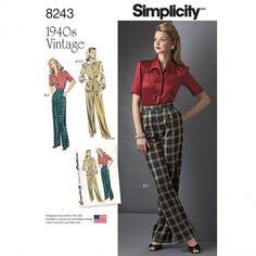 Simplicity - 8243 retro broek en blouse | Naaipatronen.nl | zelfmaakmode patroon online