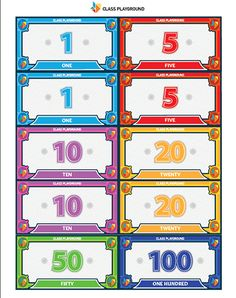 Printable Play Money 1 to 100 - Class Playground Monopoly Money, Monopoly Cards, Fake Money Printable, Positive Reinforcement Kids, Play Money Template, Reward System For Kids, Australian Money, Printable Board Games, Kids Schedule