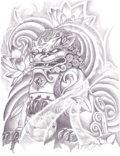 Just love this fu dog tattoo Bild Tattoos, Dog Tattoos, Body Art Tattoos, Sleeve Tattoos, Buddha Tattoos, Japanese Tattoo Art, Japanese Tattoo Designs, Mascara Hannya, Foo Dog Tattoo Design
