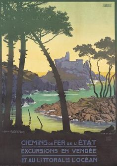 Chemins de Fer de l'Etat/Ile d'Yeu.  GEORGES DORIVAL (1879-1968)      An island of light emerging from the majestic Atlantic. The Breton island of Yeu, an island of contrasts, whose shores played host to an array of bold seafaring pioneers-Phoenicians, Greeks and Celts-not to mention barbarian raiders.  #poster
