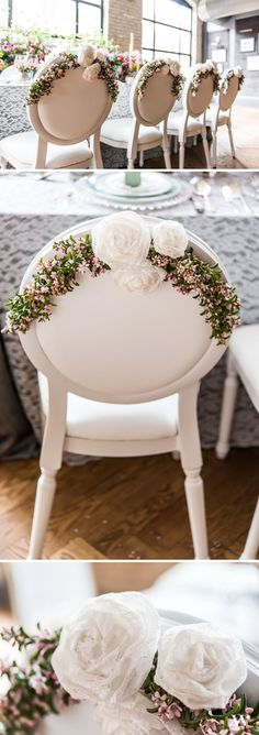 Simple DIY wedding chairback with vintage flair! Make them with our Rolled Lace Fabric Flowers and a few of your favorite blooms: http://www.weddingstar.com/product/decorative-rolled-fabric-lace-flowers