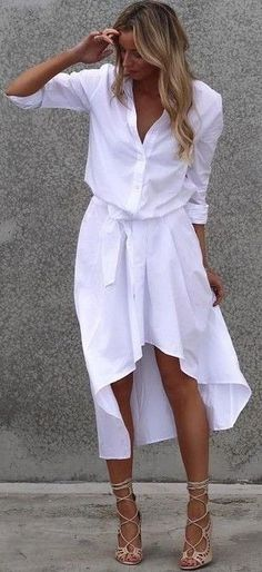 Lace up heels + shirt dress.