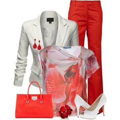 Bright Red Pants & Blazer by maggie478 on Polyvore featuring Alice + Olivia, J.TOMSON, 3.1 Phillip Lim, Nine West, Jimmy Choo and Style & Co.