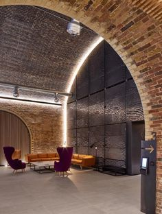 The River Building - Stiff + Trevillion Arch Interior, Interior Lighting, Interior Styling, Interior Architecture, Hidden Lighting, Facade Lighting, Indirect Lighting, White City, Brick Building