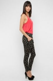 Polka Dot Pleated Pants in Black - $38.00