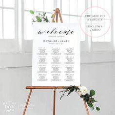 Wedding Seating Chart Template. Wedding Seating Chart. Wedding Seating Chart Poster. Wedding Seating Sign. Editable Seating Chart. (SH)