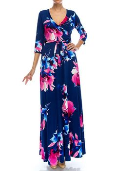 Details & Care This lovely maxi dress has a surplice v neckline, tie belt with loops at waist, and solid fabric bottom (not open or slit).The fabric is heavy allowing the dress to hang beautifully.・ 95% polyester, 5% spandex.・ Hand wash cold. ...
