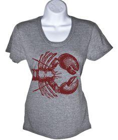 Womens Lobster T-Shirt  Nautical Shirt  Beach  Summer by lastearth