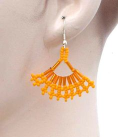 ORANGE-BUGLE-FRILL-EGYPTIAN-BEADWORK-EARRINGS-E30-4