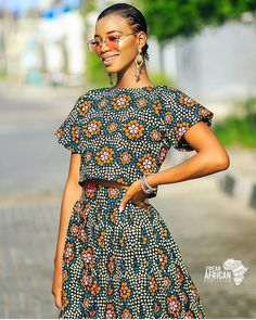 Add some of fun into your clothing collection this year with countless style of two piece outfits, you can match them with other apparels and it can also be worn solo. Irrespective of the combination African Dresses For Women, African Print Dresses, African Print Fashion, African Fashion Dresses, African Attire, African Wear, African Women, Fashion Prints, Fashion Outfits