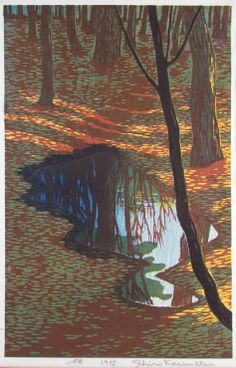 Shiro Kasamatsu In the Woods 1955 woodblock print. Collection of Mike Keenan. Art And Illustration, Illustrations, Botanical Illustration, Linocut Prints, Art Prints, Block Prints, Landscape Art, Landscape Paintings, Japanese Woodcut