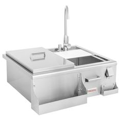 Complete your outdoor kitchen with an outdoor sink, ice bin or bar center from BBQGuys. We carry outdoor sink stations in a variety of sizes and configurations. Kitchen Bar Design, Outdoor Kitchen Design, Outdoor Kitchens, Built In Outdoor Grill, Wet Bar Designs, Beverage Center, Outdoor Sinks, Water Faucet, Specialty Appliances