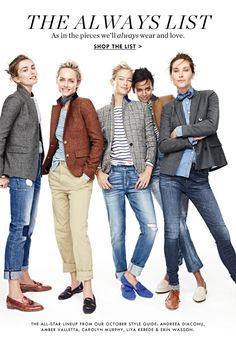 Blazer, Jeans, Flats … J.Crew immer Blazers, Jeans, Flats … J.Crew always … Blazer Jeans, Outfit Jeans, Tweed Blazer, Mode Outfits, Jean Outfits, Fall Outfits, Casual Outfits, J Crew Outfits, Tomboy Fashion