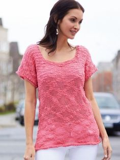 This gauzy knitted top is perfect for warm weather days. What a perfect pop of pink!