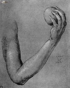 Arm of Eve - Albrecht Dürer Space Drawings, Art Drawings, Rembrandt, Melencolia I, Albrecht Dürer, Cleveland Museum Of Art, Caravaggio, Hand Art, Art For Art Sake