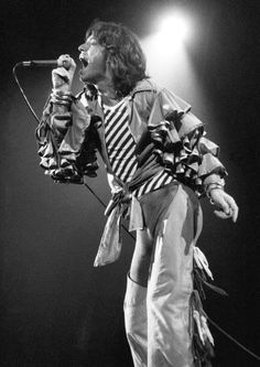 Mick Jagger in psychedelic clown style.  It had a place in rock fashion, for a while.