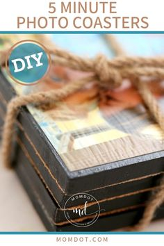 Mother's Day Gifts & Crafts : 5 Minute DIY Photo Coasters This is great for kids to give something to their family for a holiday gift, and what better Mothers Day Crafts For Kids, Diy Mothers Day Gifts, Fathers Day Crafts, Crafts For Kids To Make, Kids Crafts, Kids Diy, Diy Gifts, Wood Crafts, Unique Gifts