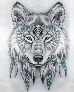 Tattoo Sketches 743094007251367329 - Tribal wolf drawing pencils, model black and white drawing with touches of blue, symbol amerindien Source by oxxelos Art Drawings Sketches, Tattoo Sketches, Animal Drawings, Tattoo Drawings, Cute Drawings, Cool Wolf Drawings, Sketch Art, Wolf Tattoos, Feather Tattoos