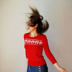 vintage BOW TIE sweater / red 1980s PUFF by vintagemarmalade, $28.00