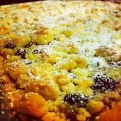 Lemon blueberry crumble tart.