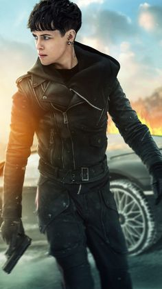 Com - Claire Foy The Girl in the Spider's Web Leather Jacket Clare Foy, Web Movie, Lisbeth Salander, Fanart, Bowl Cut, English Actresses, Lany, Claire, Spider